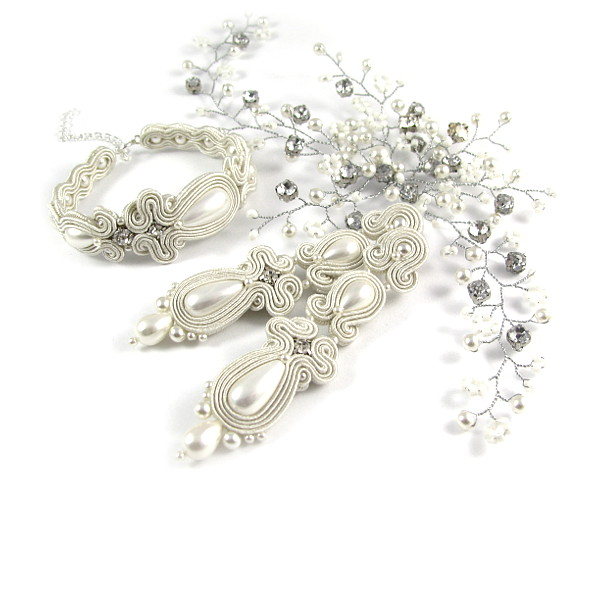 Sutaszowa biżuteria ślubna - komplet ivory.