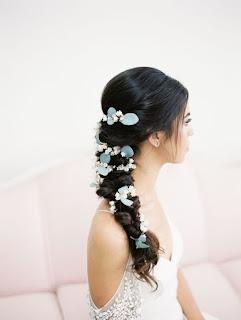 K'Mich Weddings - wedding planning - floral crown - side swipe braided hair with individual flowers