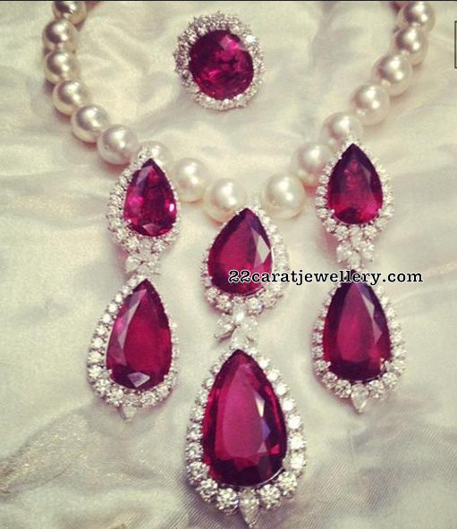 Pearl Necklace with Ruby Stone Drops