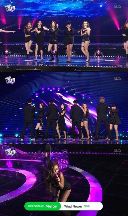 Hwasa 'SBS Gayo Daejun' töreninde de seksi giyindi