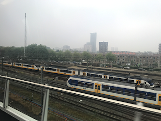 Trains in misty weather