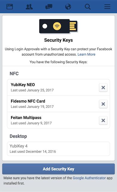 Facebook U2F Security Key