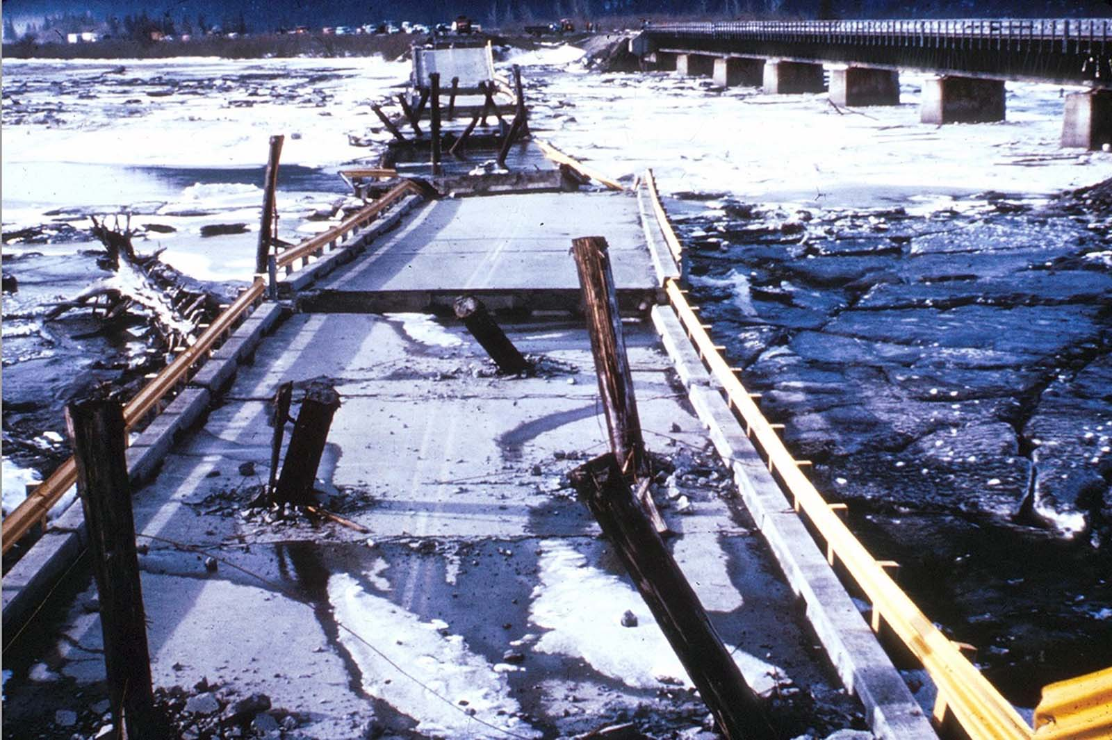 Support columns punched through the deck of the Twentymile River Bridge, as it collapsed during the earthquake, near Turnagain Arm on Cook Inlet. The adjacent steel railroad bridge survived with only minor damage.