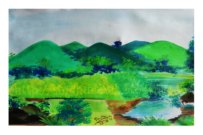 A water colour painting of paddy fields, green hills in the monsoon