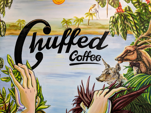 Chuffed coffee sign in Downtown Auckland New Zealand