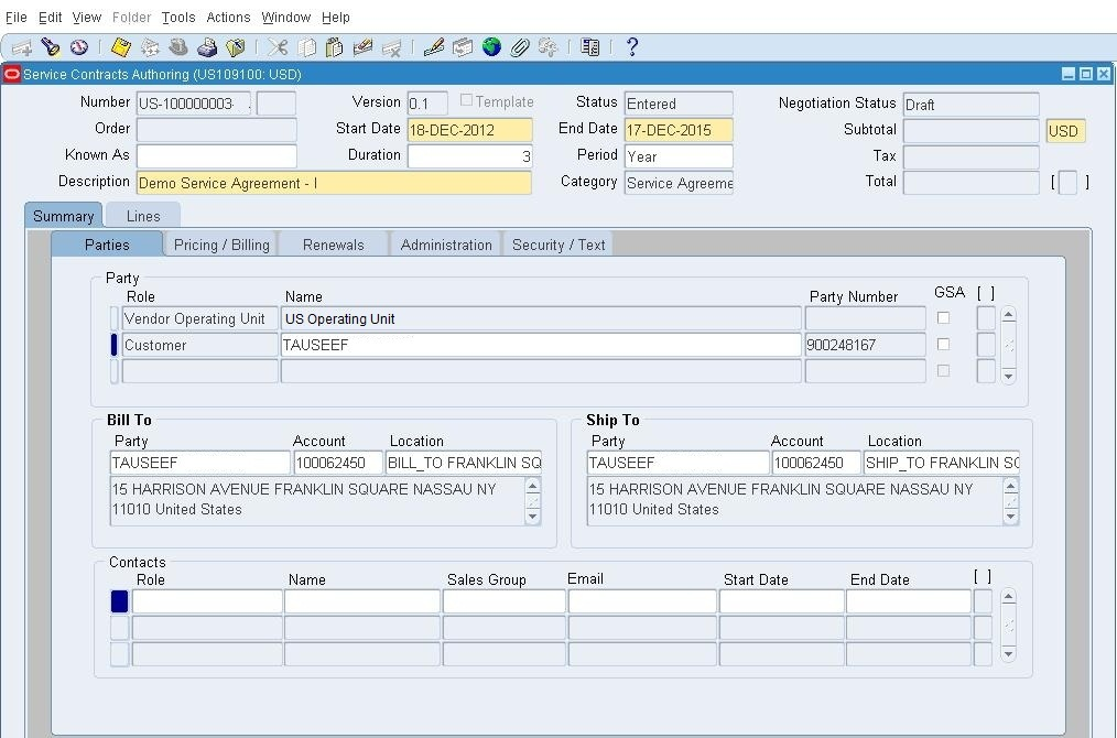 OracleAppsnFusion Oracle Service Contracts - Part-IV (Creation of - service contract