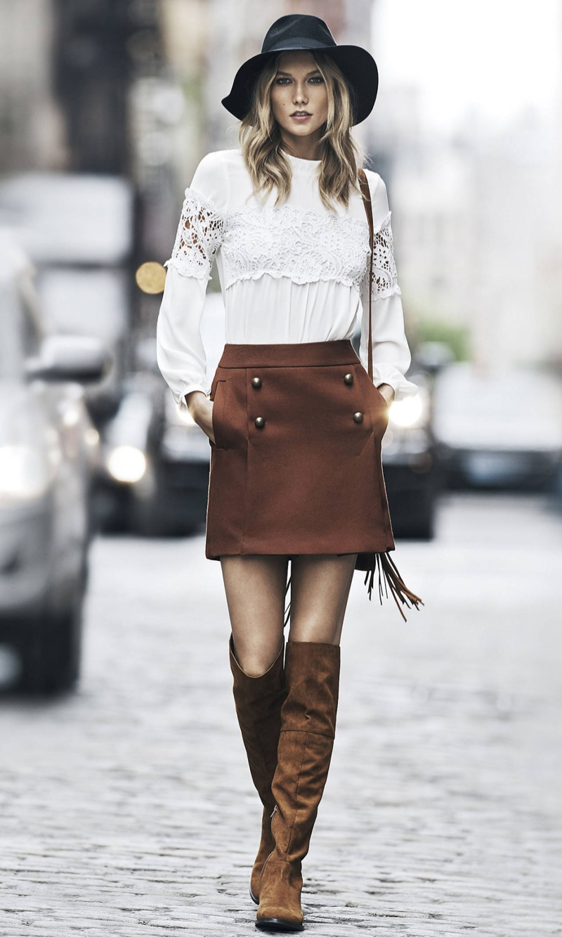 Karlie Kloss In Fringes For Express Wear To Work Lookbook