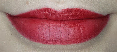 Avon True Colour Delicate Matte Lipstick lip swatch in Bitten Apple