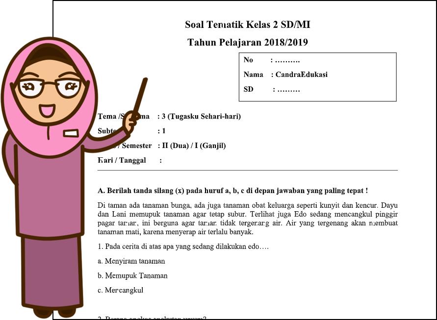 Seperti namanya disini akan menghadirkan kunci jawaban simple jelas dan lengkap. Download Soal Tematik Kelas 2 Tema 3 Subtema 1 Teori Dan Soal