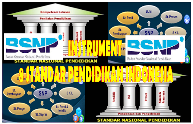 Download 8 Standar pendidikan Indonesia disertai dengan instrument penilaian
