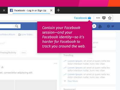 متصفح firefox يعرض عليكم اضافة من اجل منع موقع facebook من التجسس عليك