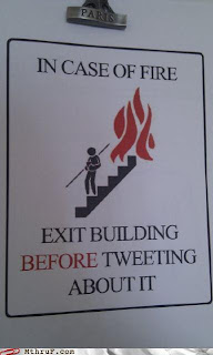 tweeting about a fire in a building