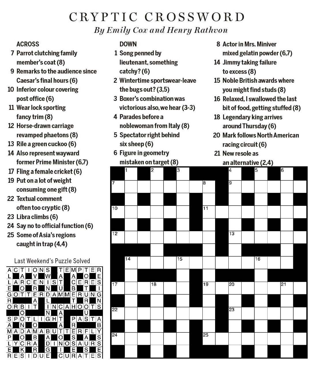 National Post Cryptic Crossword Forum Saturday February 3 2018