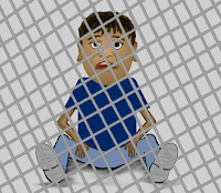 Caged kid, a cartoon by Wendy Cockcroft for On t'Internet