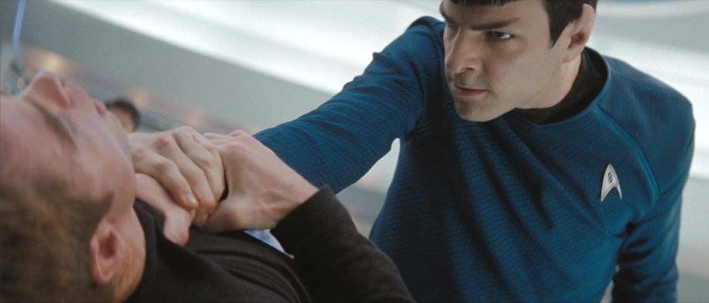 Spock with his hand around Kirk's neck