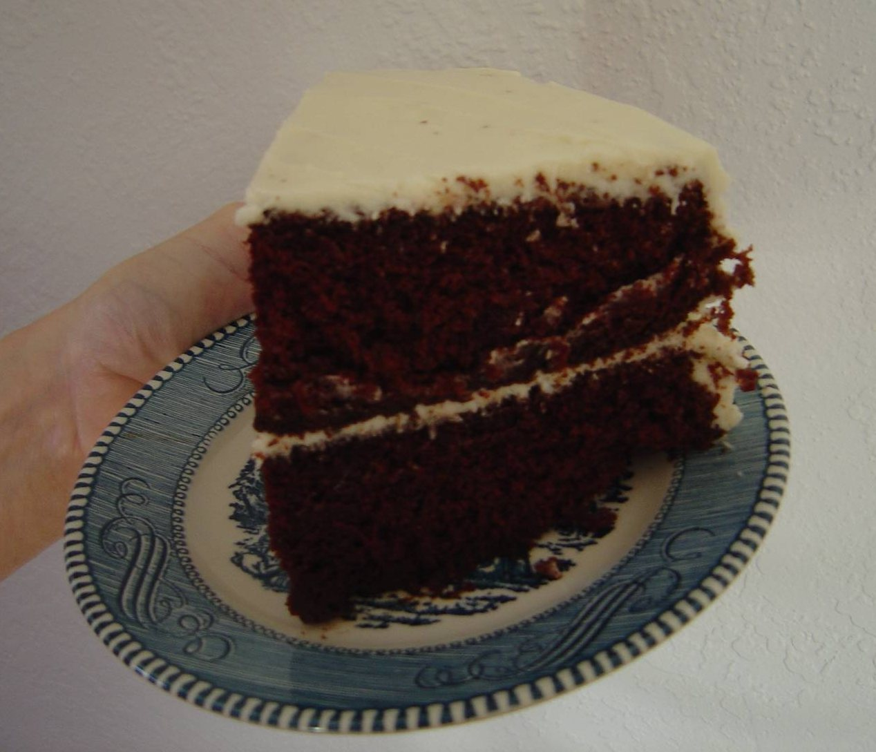 Piece of my Favorite Chocolate Cake With Hazelnut Cream icing