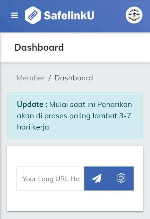 Selamat, sampai disini Anda telah berhasil mendaftar / membuat akun dan Masuk/Login di situs SafelinkU.