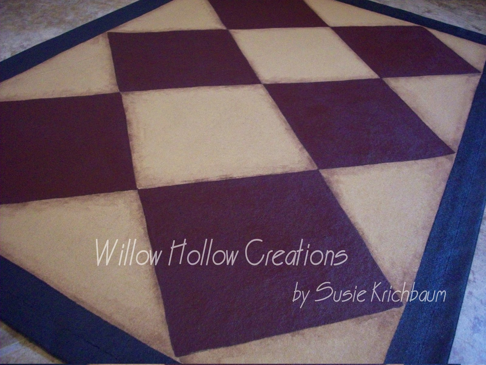 Willow Hollow Creations Floor Cloth With Diamond Colonial