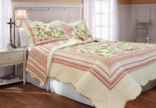 Textiles Plus, Inc. 100-Percent Cotton Full/Queen mini Quilt Set, Trellis Blue