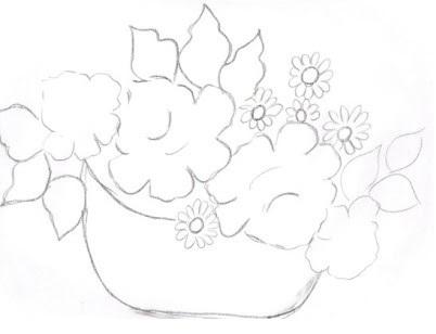 cesta de flor risco para pintar