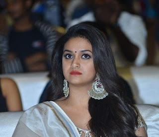 Keerthy Suresh in White Dress with Cute Smile at Pandem Kodi 2 Pre Release Event in Hyderabad 1
