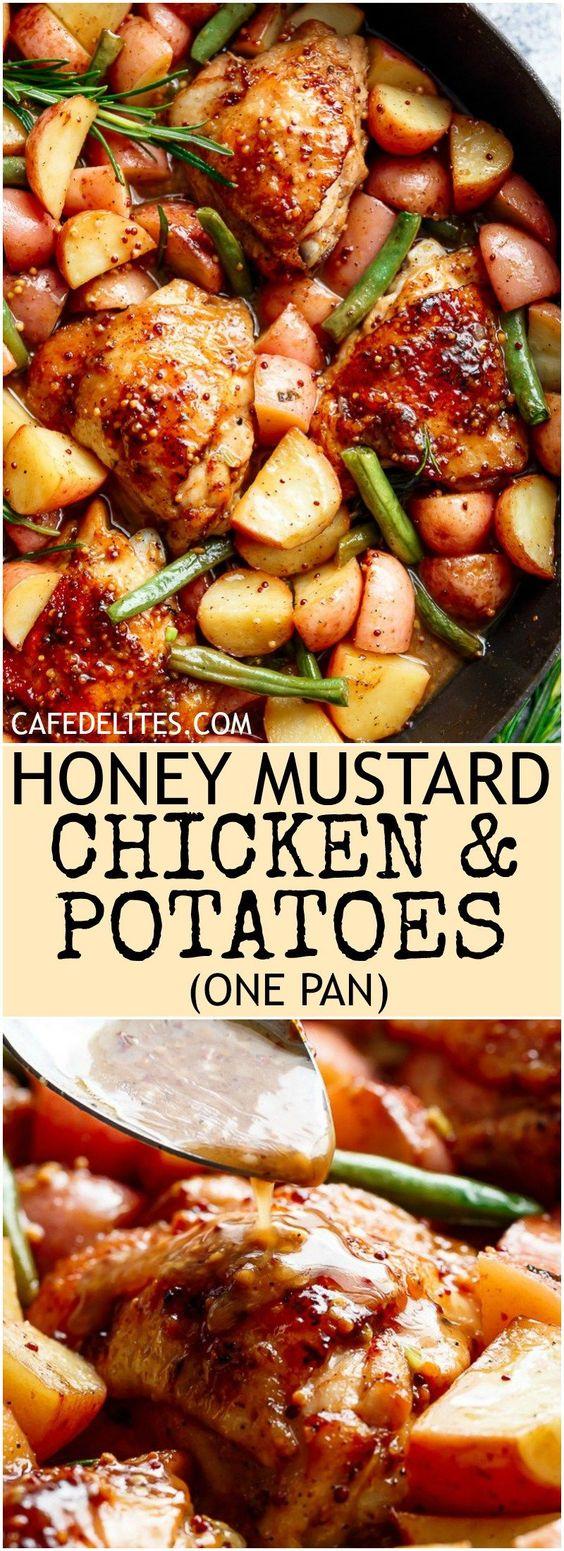 Honey Mustard Chicken & Potatoes (one pan) #honey #mustard #chicken #chickenrecipes #potatoes #onepan #healthyrecipes #healthyfood