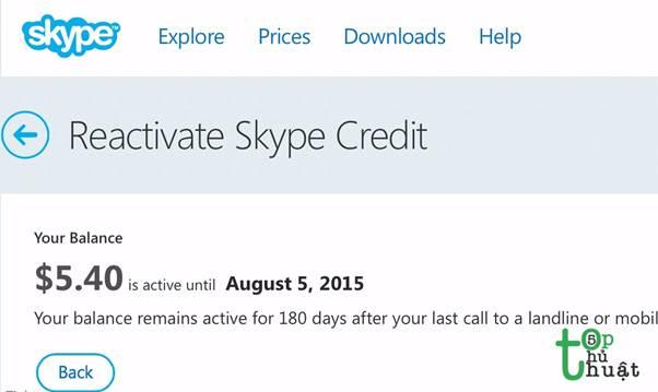 Tiền biến mất khi không sử dụng Skype sau một thời gian