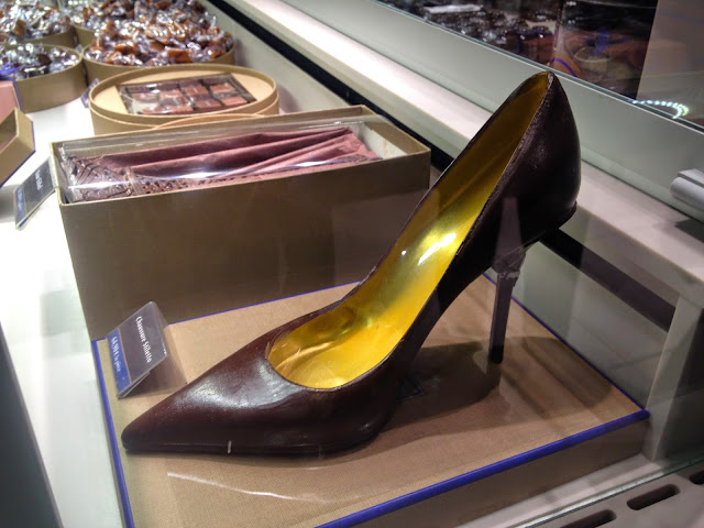 Chocolate stiletto at Lafayette Gourmet, Paris
