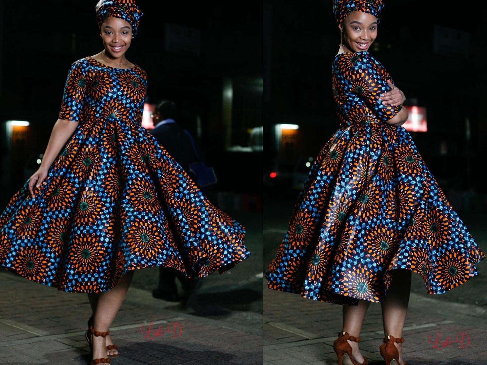 Simple Short Ankara Flare Dresses For Church