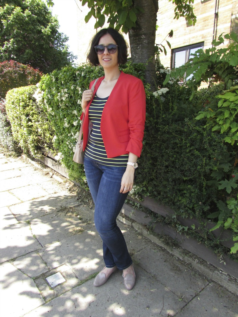 H&M red blazer and neon striped top