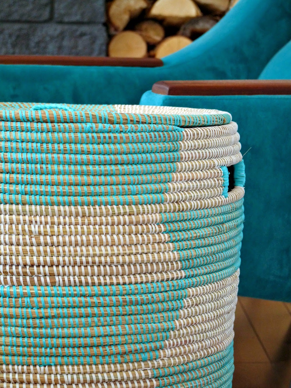 Woven Basket, Aqua and Natural
