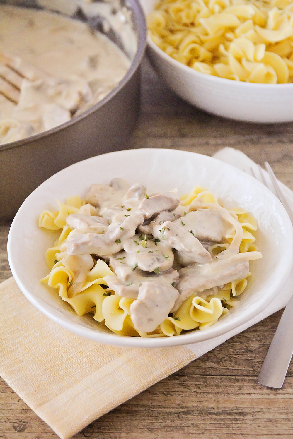 This classic beef stroganoff is so savory and filling! It's the perfect easy dinner for a busy night, and one the kids will love!