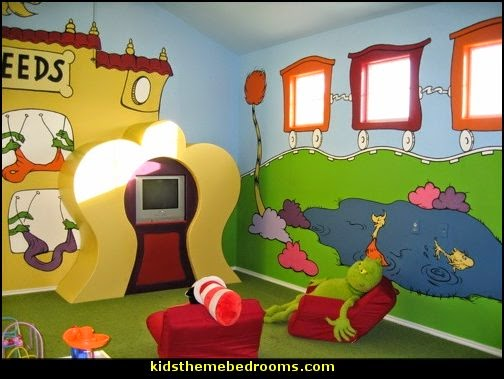 Dr Seuss playroom decorating ideas kids rooms Dr Seuss themed playrooms