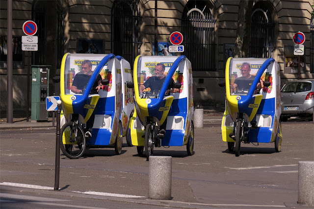 Vous & Metro advertising campaign pedicabs, place Saint-Gervais, Paris