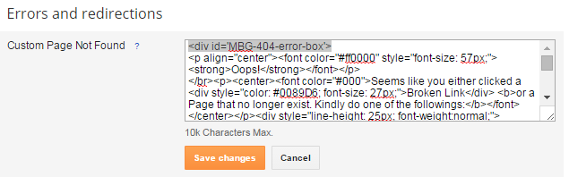 Setup Custom 404 Error Page for blogger