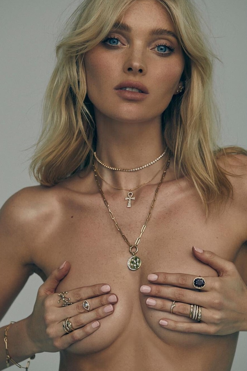 Posing topless, Elsa Hosk fronts Logan Hollowell jewelry campaign