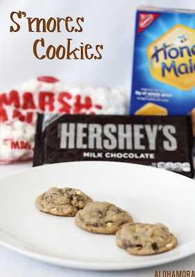 S'mores Cookies.  Amazing cookies that bring the deliciousness of a S'more in cookie form.  Best cookies ever!  Easy to make recipe. Alohamora Open a Book http://alohamoraopenabook.blogspot.com/