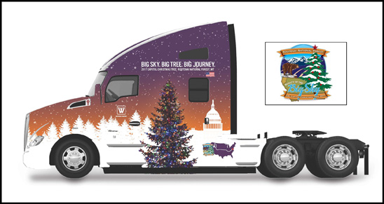 Kenworth T680 Advantage featuring the Special Decal Design for the 53rd Annual U.S. Capitol Christmas Tree Tour