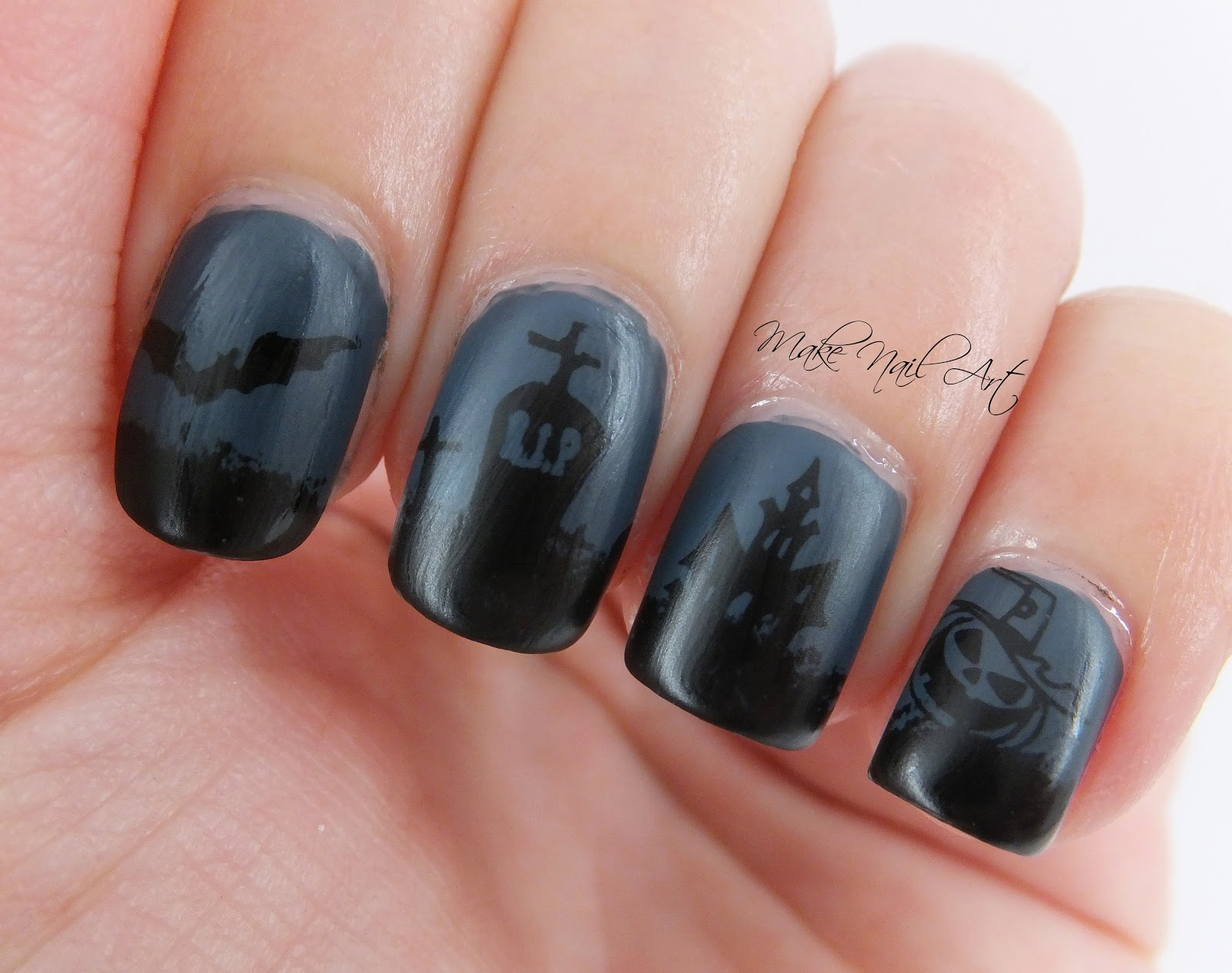 Make Nail Art Dark Night Halloween Stamping Nail Art Design Tutorial