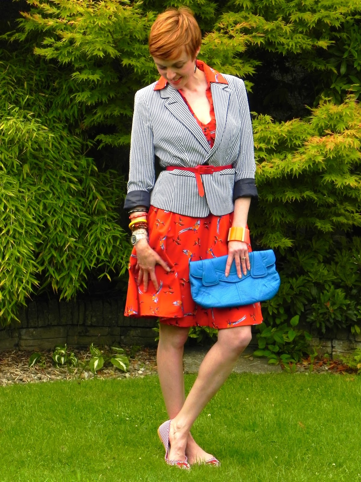 Tea dress and blazer. Smart casual outfit.