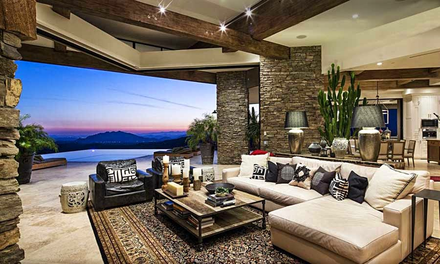 Interiores de casas de lujo for Casa moderna rustica