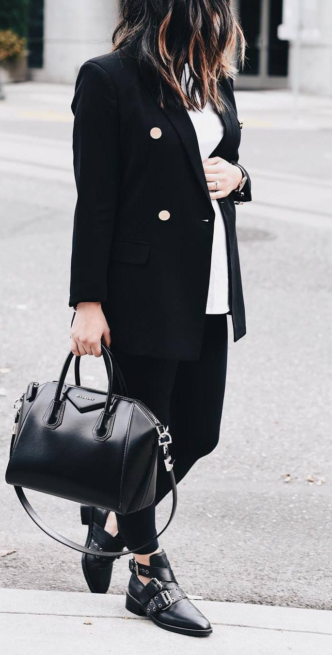 casual style perfection / blazer + top + bag + black skinnies + boots