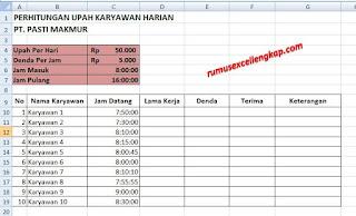 Contoh perhitungan gaji karyawan dengan rumus excel