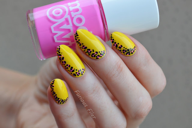 summer animal print tutorial nails pink yellow bright