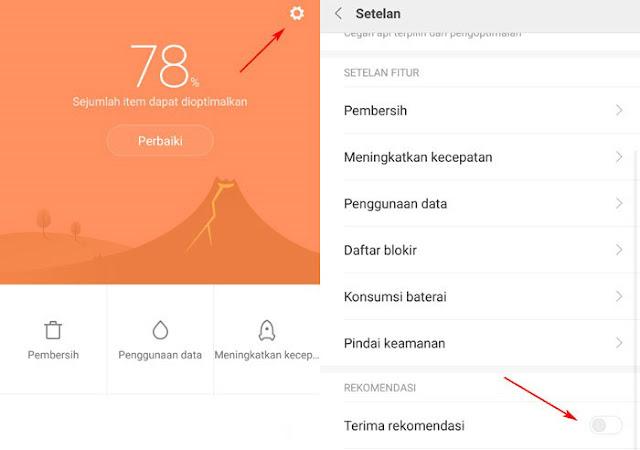 Menghilangkan iklan dari aplikasi MIUI Keamanan