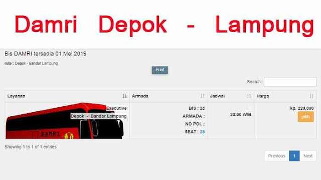 Damri Depok Lampung : Alamat, Harga & Cara Beli Tiket