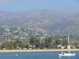 Santa Barbara view inland from Stearn's Wharf