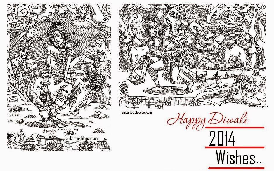 Chennai animation artist anikartick sketches happy diwali 2014 wishes to all anaivarukkum iniya dheepavali vazhthukkal in tamil artist anikartick