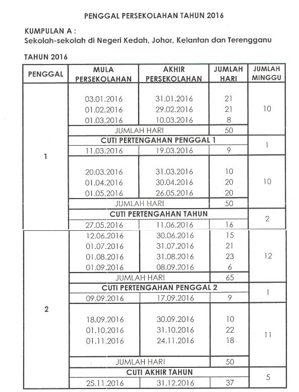 Kalendar Cuti Sekolah 2016 Malaysia a