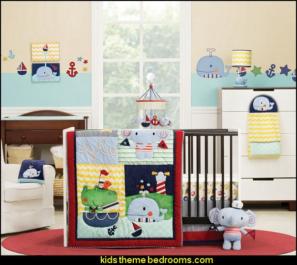 Kids Line Crib Set, Sail Away nursery nautical theme  nautical bedroom ideas - decorating nautical style bedrooms - nautical decor - sailing ship theme - coastal seaside beach theme - boat beds - beach house decorating - Travelers and seafarers - nautical bedding - nautical bedroom furniture